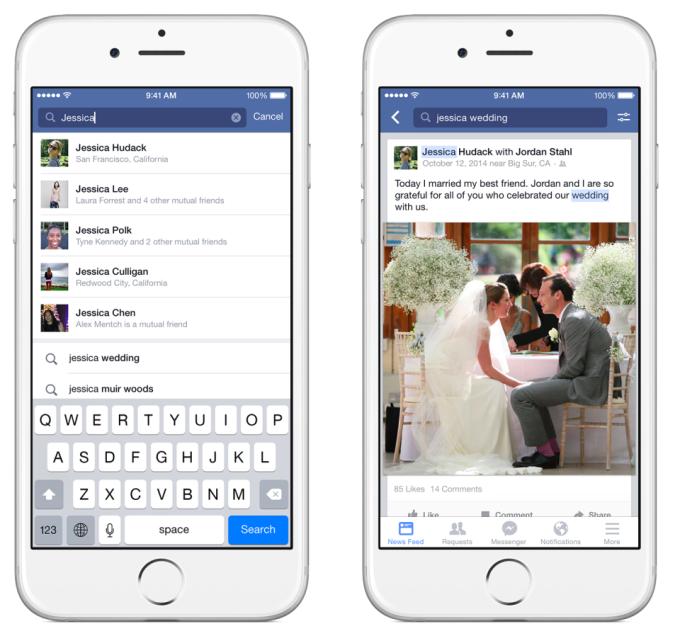 aktualizacja facebook search