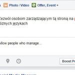 Posty na fanpage w wielu językach bez strony globalnej
